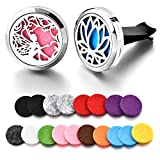 electronic fragrance diffuser - Car Fragrance Essential Oil Diffuser Vent Clip Car Air Freshener Perfume Clamp Stainless Steel Locket with 18 Oil Refill Pads (Angel+Lotus)