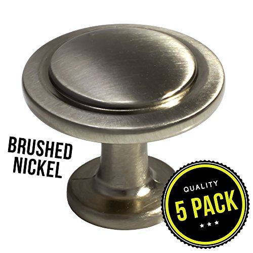 Aged Iron Accents (5pk Satin Nickel Cabinet Hardware Round Knob - 1-1/4