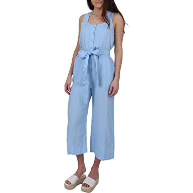 5533daa9da57 Amazon.com  Juicy Couture Black Label Womens Linen Cropped Jumpsuit   Clothing