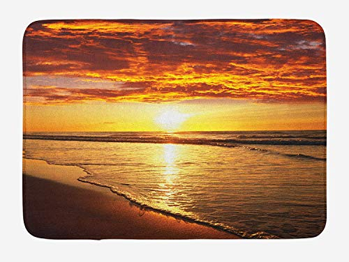 (Hawaiian Bath Mat, Dramatic Sunset Scenery Calm Exotic Beach Ocean Waves Coastal View, Plush Bathroom Decor Mat with Non Slip Backing, 23.6 W X 15.7 W Inches, Orange Dark Orange Yellow)