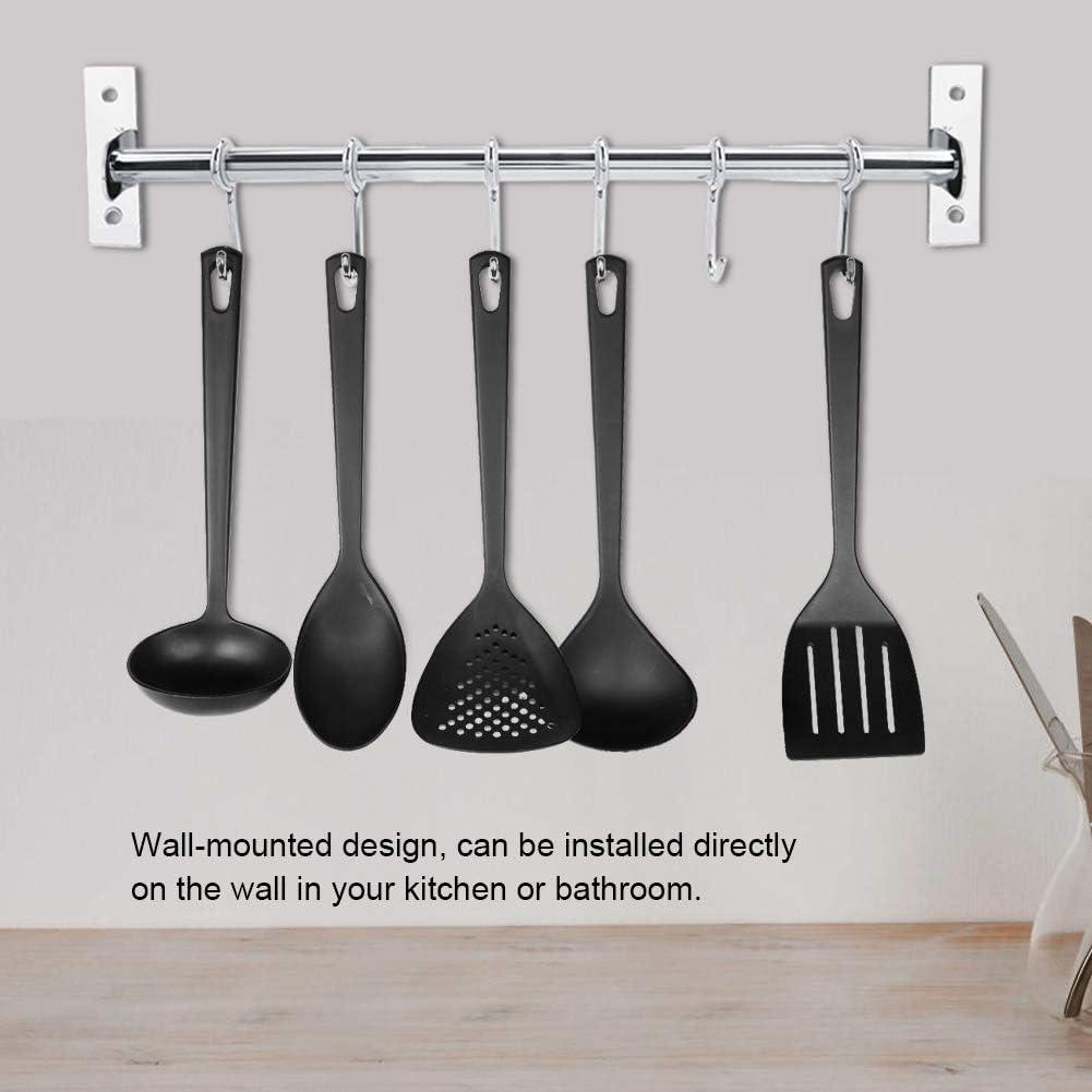 esp/átulas organizador 6 hooks pared con ganchos extra/íbles para colgar sartenes ba/ño Soporte de acero inoxidable para colgar utensilios de cocina