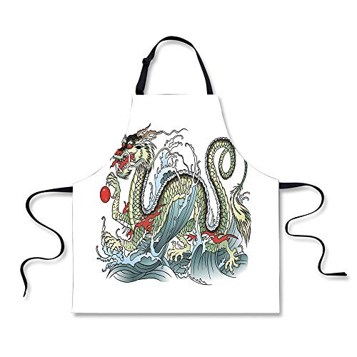iPrint BBQ Apron,Japanese Dragon,Far Eastern Water Dragon Splashing Waves Legend Creature,Pale Green Vermilion Sage, Apron.29.5