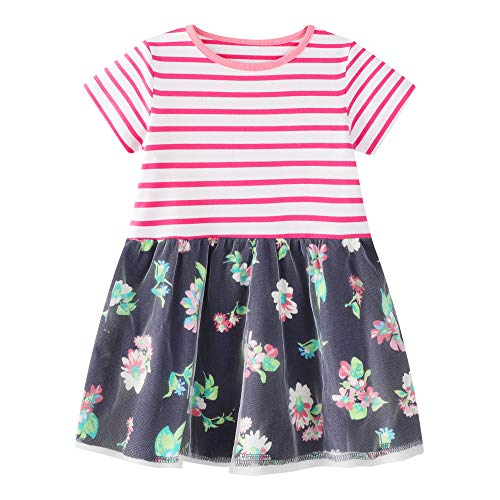 Toddler Girls Cotton Dress Floral Ruffle Skirt Cute Clothes for Kids 18M Pink-Navy]()