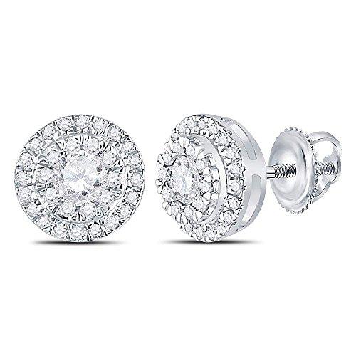 (10k White Gold Round Diamond Circle Stud Earrings 1/2 Ct.)
