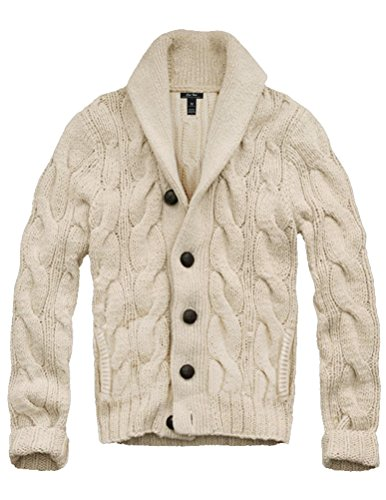 Mens Cali Holi Cable Knit Shawl Collar Cardigan Style Sweater Beige US XXL by CALI HOLI