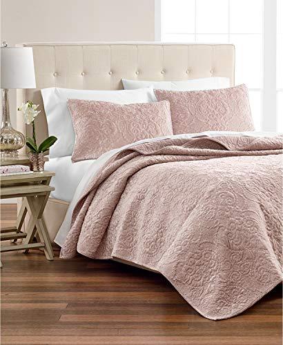 Martha Stewart Pink Rose 3 Piece Velvet Flourish Quilt & Sham Collection ()