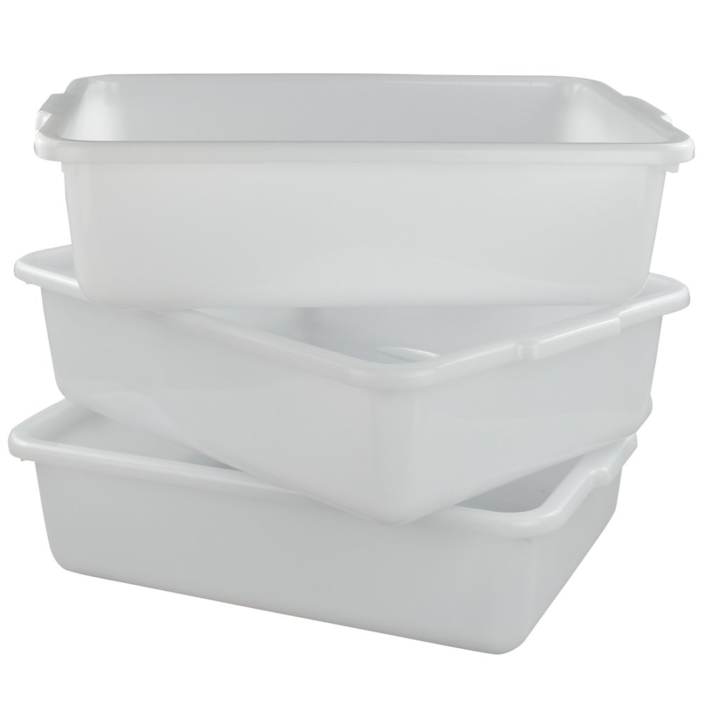 Morcte Commercial Bus Box, Plastic Bus Tub/Wash Basin, 15.55'' x 11.41'' x 4.72'', Set of 3 (White)