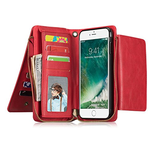 iPhone X Case,Vacio Zipper Card Slots Money Pocket Clutch Cover Wallet Retro Vintage Stand Smart Wallet Credit Billfold Pouch Magnetic Phone Sleeve Case for iPhone X (Red) by Vacio (Image #3)