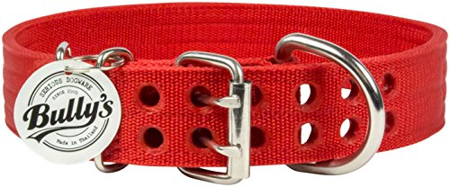 Rottweiler Police Dogs - Pitbull Collar, Dog Collar Large Dogs, Heavy Duty Nylon, Stainless Steel Hardware (Large, Fire Engine Red)