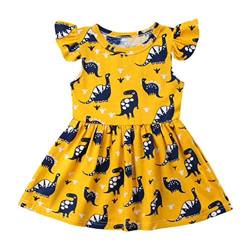 Qiylii Toddler Kids Baby Girl Dinosaur Dresses Ruffle Short Sleeve Holiday Dress Outfits Clothes (Yellow #Short Sleeve, 5-6 Years)]()