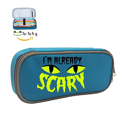 [OKMJ KKSS Halloween Cat Scared Eyes Multicolor pen bag,Pencil case Teens pen container,Double zipper student stationery girl's durable large volume bag of makeup bag. school-supply-boxes] (Cheap Double Act Costumes)