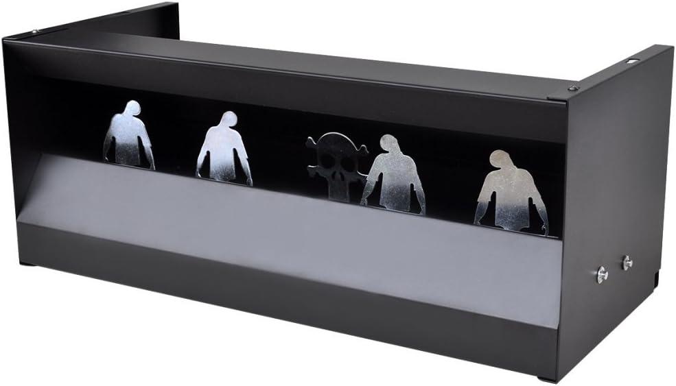 Festnight Tiro Magnetico de 4 + 1 Blancos para Larga Distancia con Forma de Zombies - Material de Acero, 49x22x20 cm