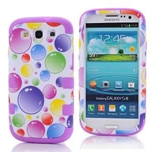 SHHR-HXSIII49N Plastic+Silicone Colorful Rainbow Bubbles Design Hybrid case for Samsung Galaxy III S3 i9300 -Purple Color