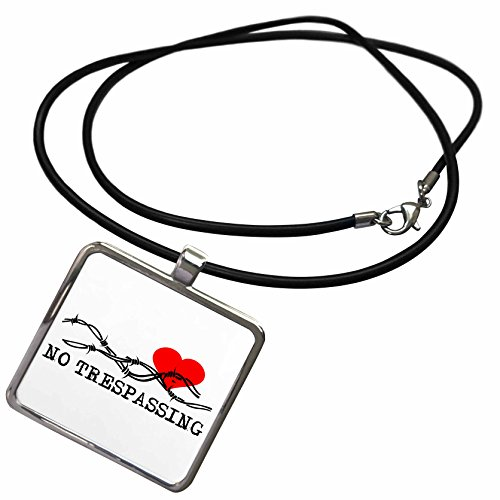 3dRose Alexis Design - Love - Barbed wire, red heart, no trespassing black text on white - Necklace With Rectangle Pendant (ncl_272314_1) (Barbed Wire Pendant)