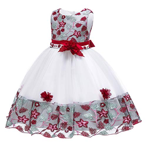 NSSMWTTC 3-10T Flower Girl Wedding Dress Kid Birthday Pageant Party Event Knee Prom Tutu Dresses 6T 7 Years(Burgundy,130) -