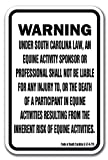 South Carolina Equine 12'' x 18'' Aluminum Sign Warning Statute Horse Farm
