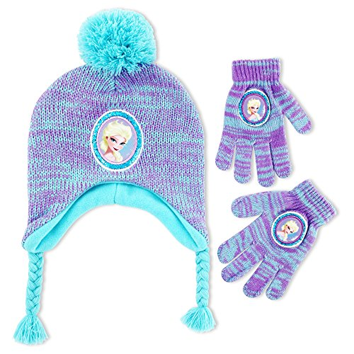 Disney Little Girls Frozen Elsa Character Hat and Gloves Cold Weather Set, Age 4-7,Light Blue, Purple,One Size