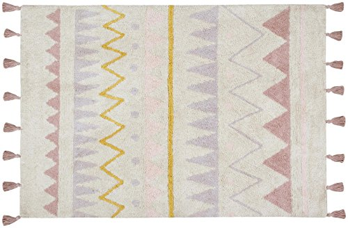 Lorena Canals Azteca Natural-vintage Nude, Blue/Black/Yellow, 4' x 5' - On Canal Shops