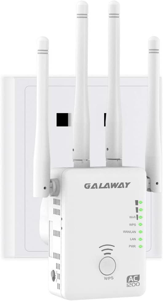 GALAWAY G1200 WiFi Extender, 1200Mbps WiFi Range Extender with 4 External Antennas 2.4GHz+5GHz Dual Band Mini Wireless Signal Repeater
