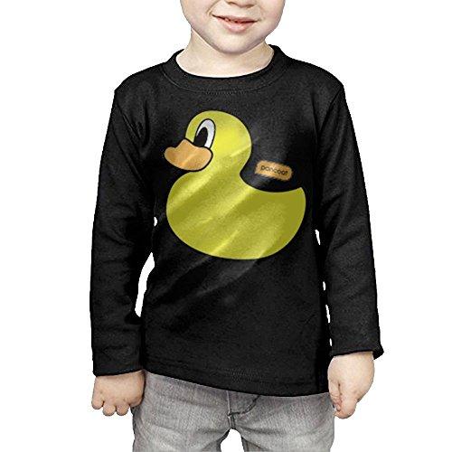 ZiXia Girls' Cute Duck Casual Style Travel Black T Shirt 4 Toddler Long (Anaheim Mighty Ducks Rock)