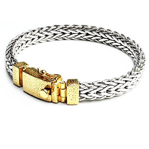 Chain Woven Silver Bracelet (8.6mm Men Braided Bracelet 925 Sterling Silver Woven Chain Bracelet, 18K Bonded Yellow Gold Clasp (9))