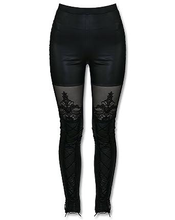 9ac7774b9e82b0 Punk Rave Macbeth Leggings Black Gothic Corset Lace Embossed Wet Look