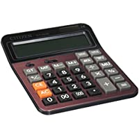 LI-GELISI Electronic Desktop Calculator with 14-Digit Large Display, Solar and AA Battery Dual Power Standard, Handheld Function Desktop Calculator, Deep Red