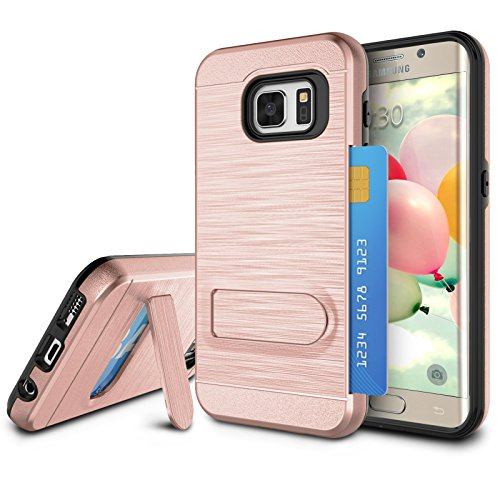 Galaxy S7 Edge Case, S7 Edge Card Holder Cover, Jeylly Rose Gold [Metal Satin] Card Holder with Kickstand Hybrid Dual Layer Hard Plastic + Soft TPU Drop Protection Case for Samsung Galaxy S7 Edge G935