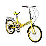 LETFF Adult Folding Bike 20 Inches, Variable Speed Shock Absorption High Carbon Steel Student Mountain Bike,Yellow
