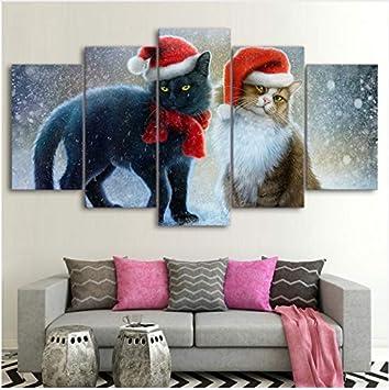 LQWE Pintura de Lienzo 3D Cuadros de la Lona Home Decor HD Prints Poster 5 Piezas de Navidad Gatos ...