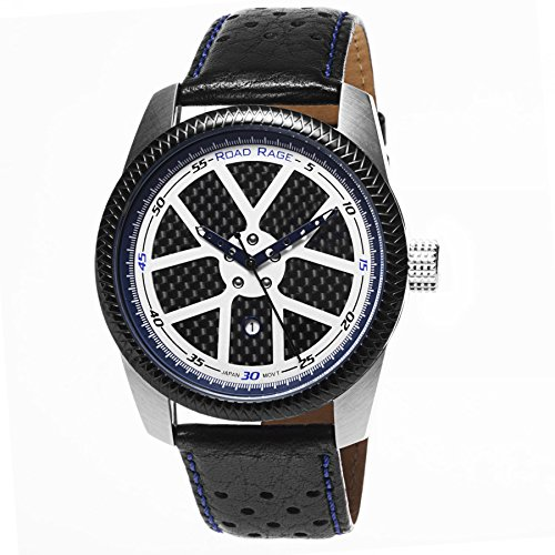 (Road Rage Men's Analog Quartz Watch with Leather Strap, Black (Model: RR100.Blue))