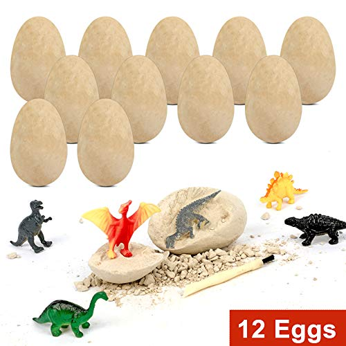 XX Dinosaur Egg Dig Kit 12 Eggs Excavate 12 Different Dino Toys Easter Party Archaeology Paleontology Educational Science Gift