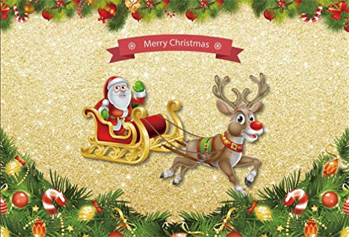 Yeele 6x4ft Christmas Photo Backdrop Santa Claus Reindeer Sleigh Red Berry Xmas Tree Ornaments Background for Photography Party Event Kids Adult Family Photo Booth Shoot Vinyl Studio Props