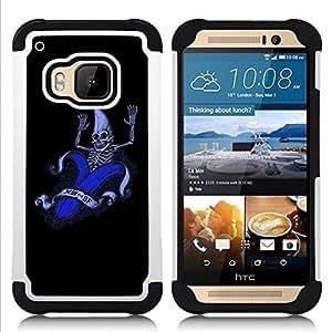 """HTC One M9 /M9s / One Hima - 3 en 1 impreso colorido de Altas Prestaciones PC Funda chaqueta Negro cubierta gel silicona suave (Divertido plátano Esqueleto"""")"""