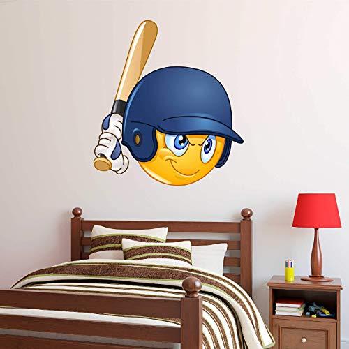 (Boys Baseball Batter Emoji Wall Decal - Kids Wall Sticker)