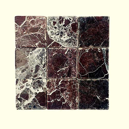 """Tile Natural 5 Finish Piece (Vogue Tile Rosso Levanto Marble 4"""" x 4"""" Tumbled Tile (Box of 5 Sq. ft.))"""