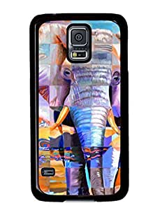 Abstract Colorful Elephant DIY Hard Shell Black Samsung Galaxy S5 I9600 Case Perfect By Custom Service
