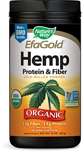 Nature's Way EfaGold Hemp Protein & Fiber Powder, 11 g of Fiber & 11 g of Protein per serving, USDA Organic, NON-GMO, 16 Ounce