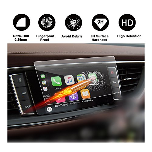 2018 Buick Enclave 8-Inch Display Touch Screen Car Display Navigation Screen Protector, R RUIYA HD Clear TEMPERED GLASS Car In-Dash Screen Protective Film (Touch Buick Screen)