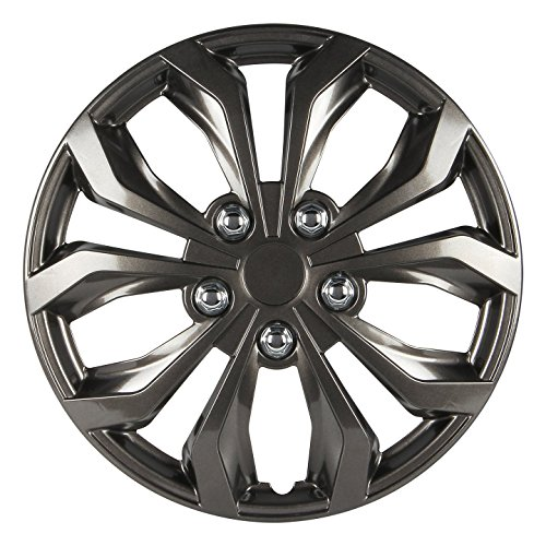 Finish Accents Gunmetal - Pilot WH555-15GM-B Universal Fit Spyder Gunmetal Grey 15 Inch Wheel Covers - Set of 4