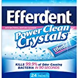 Efferdent Anti-bacterial Denture Cleanser, Power Clean Crystals, Icy Mint, 24 Packets