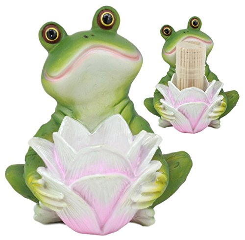 (Ebros Lotus Blossom Frog Prince Toothpick Holder Statue With Toothpicks Excellent Gift For Amphibian Lovers Cute Toad Home Kitchen Decor)