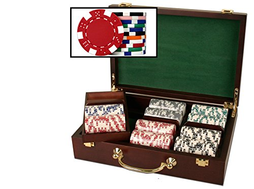 Poker Mahogany Set (Mahogany Wood Poker Chip Set with 300 11.5 gram chips)