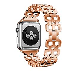 For Apple Watch Band 42mm, Hp95(tm) New Design Stainless Steel Bracelet Smart Watch Strap + Repair Tool For Apple Watch Series 12 42mm (Series 2 42mm, Rose Gold)