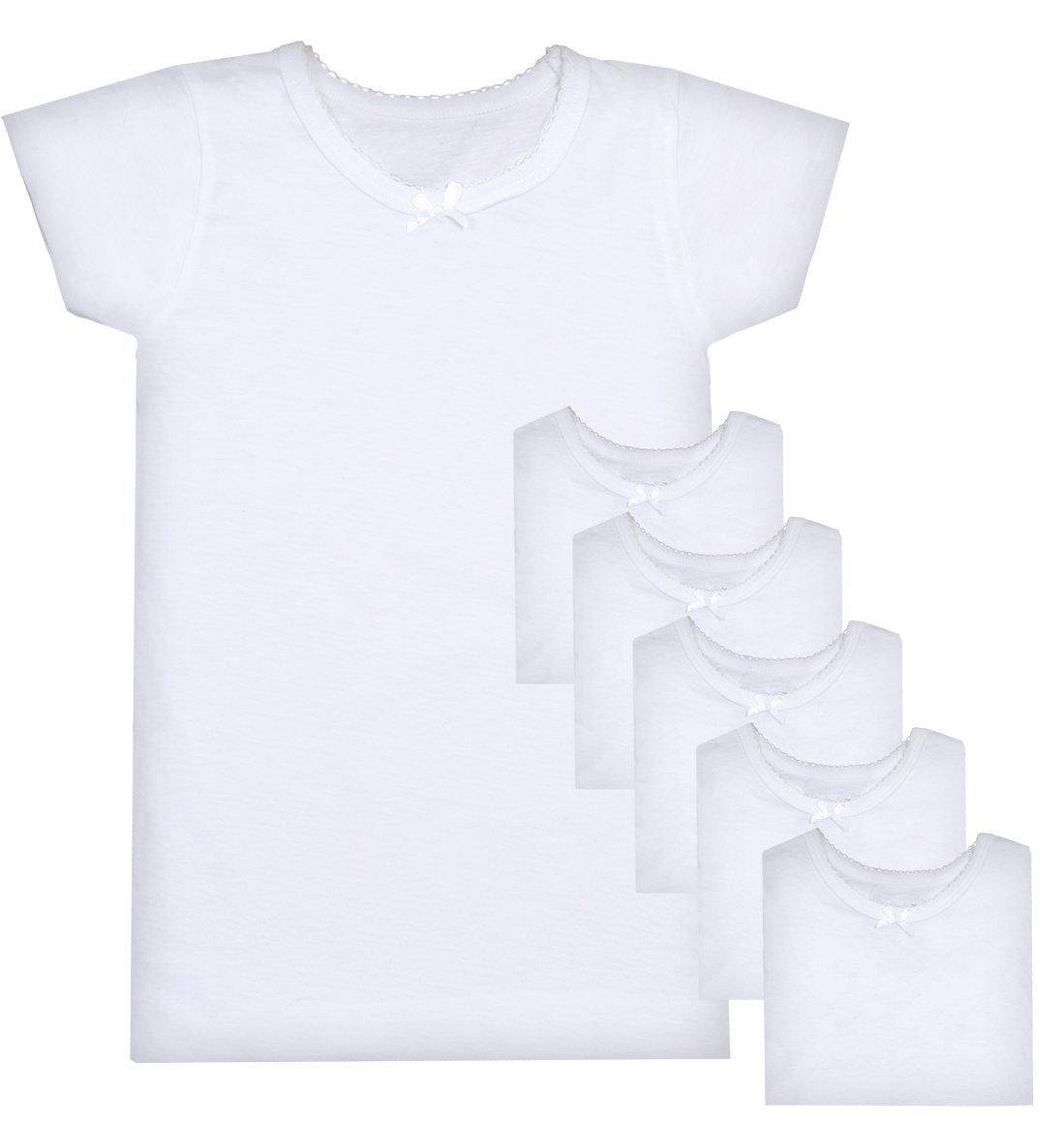 Sweet & Sassy Girls Crewneck Undershirt, White, X-Large/14-16 (Pack Of 6)'