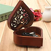 New Retro Heart-shaped Carving Wooden Wind-up Music Box By KTOY