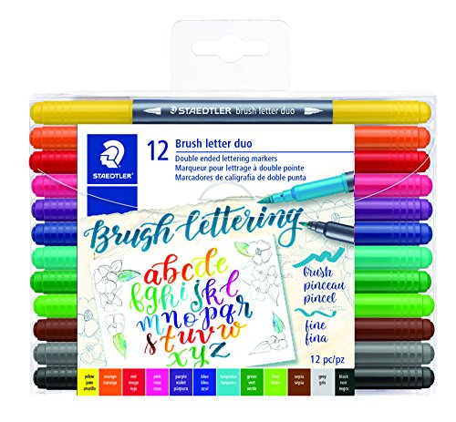 Staedtler Double-ended Brush Marker Brush Letter Duo, Creative Lettering, Flexible and Fine Tip, Blendable Ink, Set of 12 Assorted Colors, 3004TB12A6 (Letter Assorted One Set)
