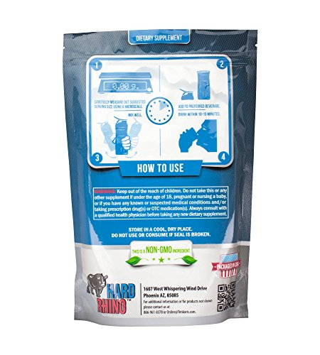 Hard Rhino Creatine Monohydrate Micronized 200 Mesh Powder, 1000 Grams (2.2 Lbs), Unflavored, Lab-Tested, Scoop Included
