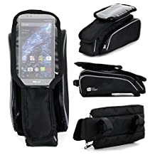 DURAGADGET Shockproof Bicycle Front Frame Saddle Bag with Double Pouch for BLU Studio One, BLU Studio Selfie LTE, BLU Studio X Mini & BLU Vivo Selfie