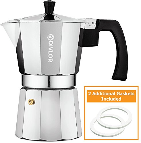 Stovetop Espresso Maker - Moka Pot, Aluminum Espresso Machine 6 Cup, 2 Extra Gaskets Included, By Divlor